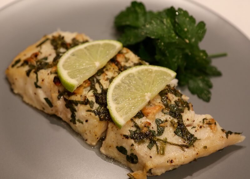 baked corvina fish fillet in the lime marinade in love